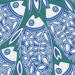 Francoise Paviot Servet Vis Blauw Groen  40x40