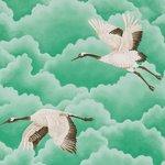 behang Harlequin Cranes In Flight 111233 emerald groen Palmetto Luxury By Nature