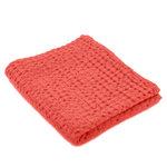 Luxe wafelhanddoeken roze rood corail pink 590 - Pousada Serie Abyss Habidecor stapel