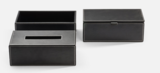zwart leren multi-purpose box opbergdoosje luxe badkameraccessoires decor walther dealer luxury by nature amsterdam