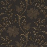 Little Greene behang, London Wallpapers 2, Bedford Square, goud, blauw, bloem, streep, 0273BEEBONY,