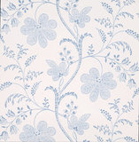 Little Greene behang, London Wallpapers 2, Bedford Square, wit, blauw, bloem, streep, 0273BEPORCE,