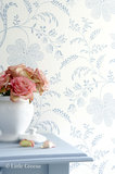 Little Greene behang, London Wallpapers 2, Bedford Square, wit, blauw, bloem, streep, 0273BEPORCE, luxury by nature