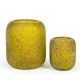 Glazen Groene Vaas Oranje Stippen