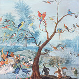 Les Dominotiers Tropical Birds Behang
