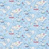 behang little sanderson Treasure Map blauw