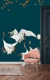 Catchii Japanese Crane Dance Paneelbehang - Blue