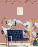 Catchii behang kraanvogels roze Japanse Crane Dance