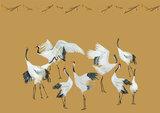 Catchii-behang crane dance okergeel