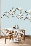 Catchii Flying Cranes Behang - Licht Blauw