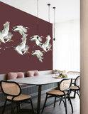 Catchii Flying Cranes Behang - Bordeaux