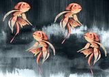 Catchii Koi Fish Art Behang - Donker Grijs