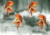 Catchii Koi Fish Art Behang - Groen Grijs