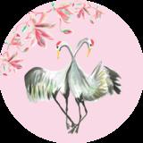 Catchii Roze Kraanvogels Behangcirkel