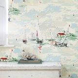 behang sanderson Sail Away vintage 2 sfeer 1 zeilboten behang jaren 50