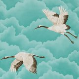 behang Harlequin Cranes In Flight 111234 marine blauw Palmetto Luxury By Nature