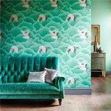 behang Harlequin Cranes In Flight 111233 emerald groen sfeer Palmetto Luxury By Nature