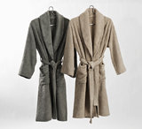 Luxe badjas dames heren linen 770 en atmosphere 940 egyptisch katoen abyss habidecor luxury by nature super pile