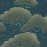 Behang Little Greene Pines - Blue Pines 20th Century Papers Luxury By Nature