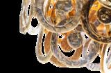 Lumière Glasschakel Hanglamp met glazen ringen goud H700 detail Luxury By Nature