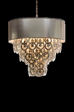 Hanglamp Lumière 9-Laags met glazen ringen zilver