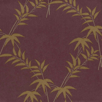 Trellis Bamboo Metalic Bruin, Goud