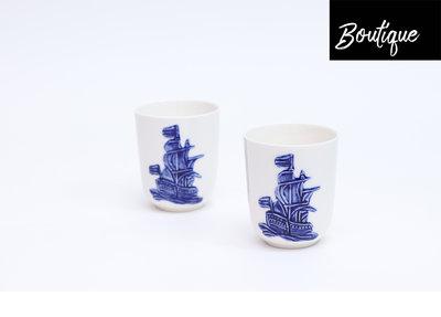 Hollandsche Waaren Delftsblauwe Bekers Schip (set van 2)