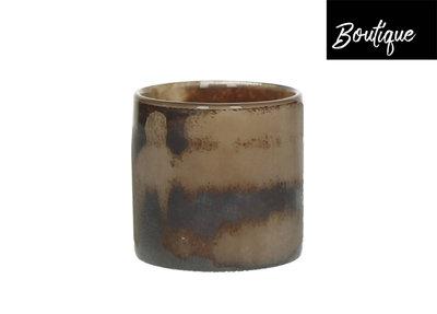 Waxinelichthouder Glas Bronze