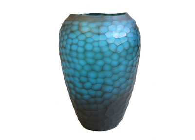 Glazen Vaas Carved Turquoise