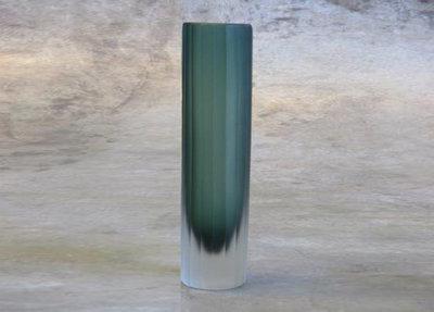 Glazen Vaasje Cylinder Smoke Green
