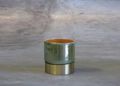 Waxinelichthouder Glas Groen Messing