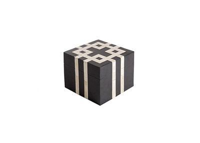 Decoratieve Box Hout En Hoorn Geometrisch