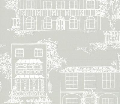 Little Greene Hampstead behang - Cool Grey