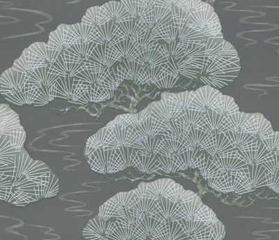 Little Greene Pines Behang - Silver Pine