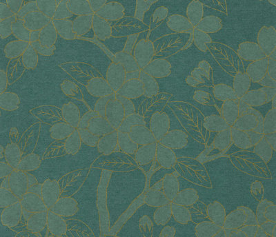 Little Greene Camellia Behang - Teal
