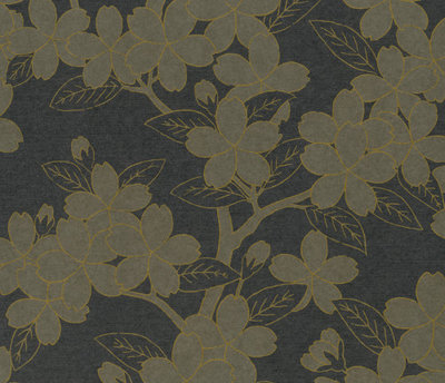 Little Greene Camellia Behang - Charcoal