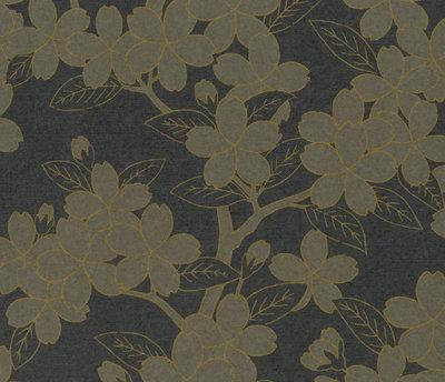 Little Greene Camellia Behang - Charcoal