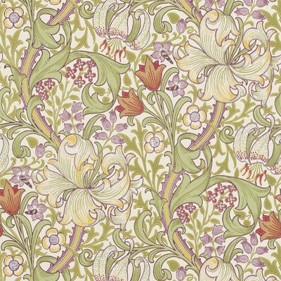 Morris & Co. Golden Lily Behang - Olive / Russet