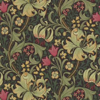 Morris & Co. Golden Lily Behang - Charcoal / Olive