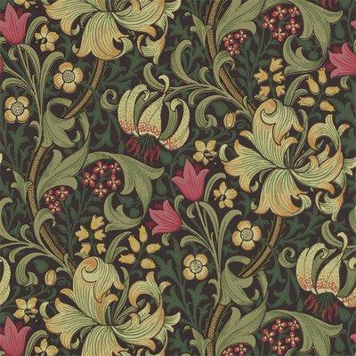 Morris & Co. Golden Lily Behang - Charcoal / Olive