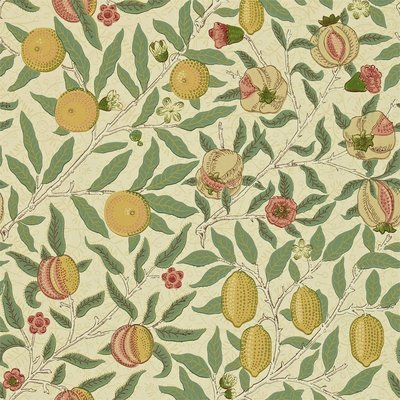 Morris & Co. Fruit Behang - Beige / Gold / Coral