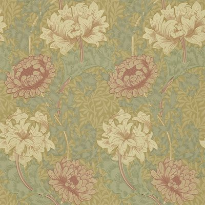 Morris & Co. Chrysanthemum Behang - Pink / Yellow / Green
