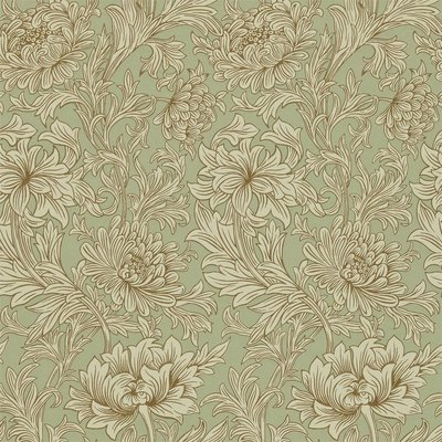 Morris Chrysanthemum Toile Behang - Eggshell / Gold