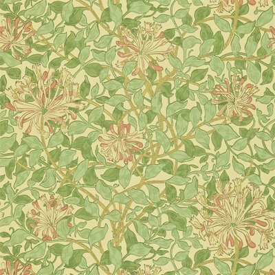 Morris Honeysuckle Behang - Green / Beige / Pink