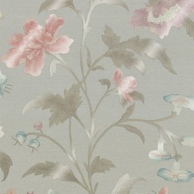 Little Greene China Rose Behang - French Grey Lustre