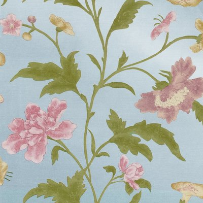 Little Greene China Rose Behang - Blue Lustre