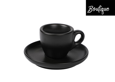Espresso Kop En Schotel Black Mat 55 ml - 4 stuks