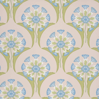 Little Greene Hencroft Blue Primula Behang
