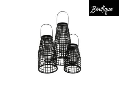 Lantaarn Set van 3 Rotan Zwart