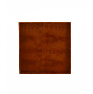 Leren Dienblad Croco Cognac - 60 cm x 60 cm x 6 cm